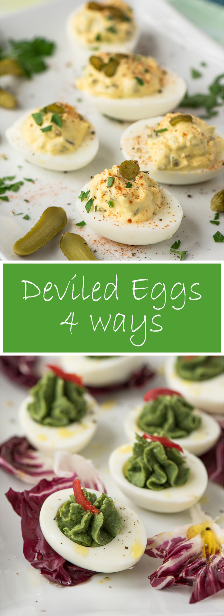 Deviled Eggs, 4 Ways. How to make perfect deviled eggs with recipes for 4 variations, Cornichon Deviled Eggs, Truffle Deviled Eggs, Spinach Deviled Eggs and Traditional Deviled Eggs.
