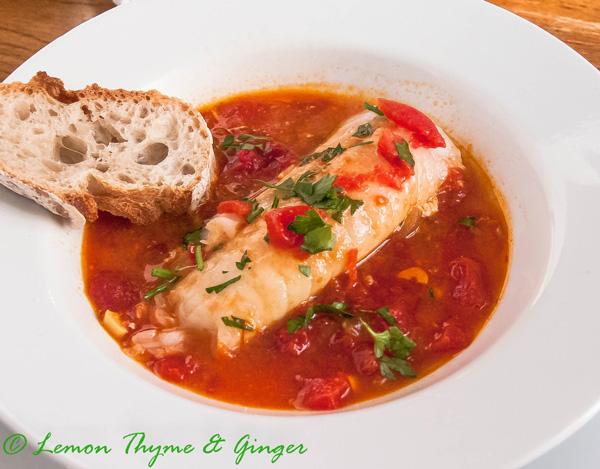 Earth Day Friendly Recipes, Cod in Tomato Saffron Broth