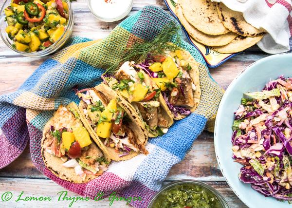 Earth Day Friendly Recipes, Seared Fish Tacos with Avocado Mango Salsa