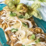 Chicken Enchiladas with Roasted Tomatillo Sauce, with recipe.