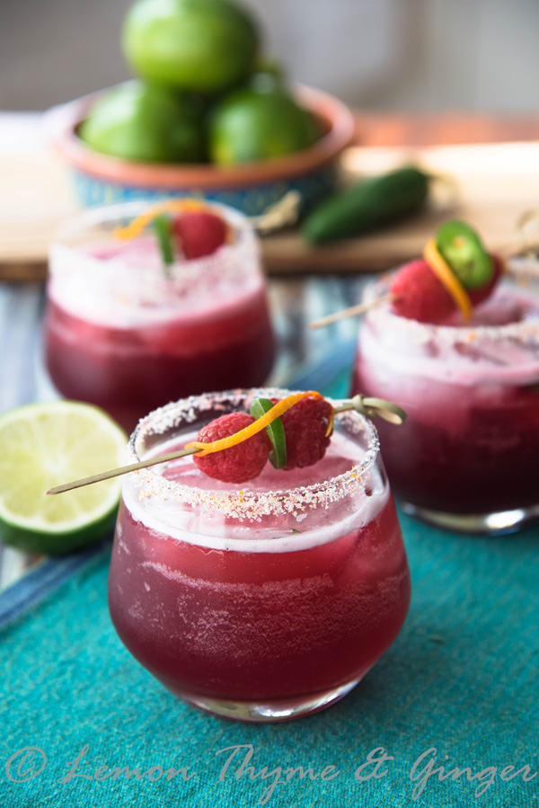 Raspberry Hibiscus Margarita with Jalapeno, recipe.