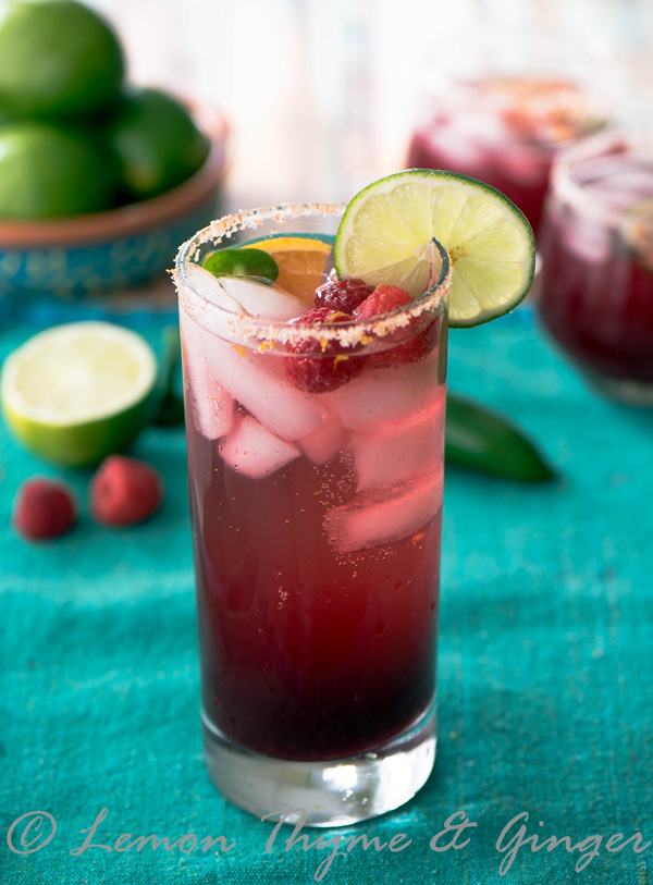 Raspberry Hibiscus Margarita with Jalapeno recipe. A Mocktail substitute recipe.