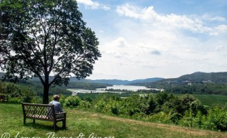 View from Boscebel overlooking the Hudson River. Post about Earth Day with links to recipes.