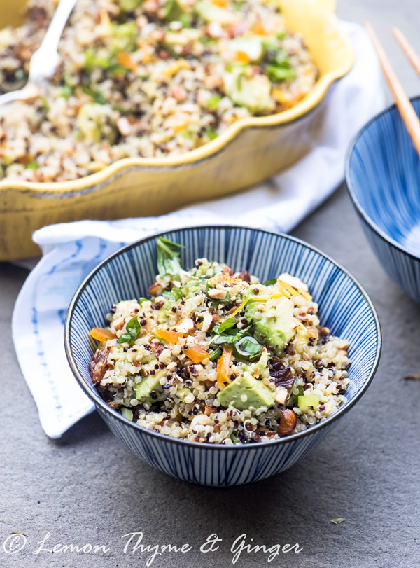 Earth Day Friendly Recipes, Quinoa Salad with Avocado and Apricots