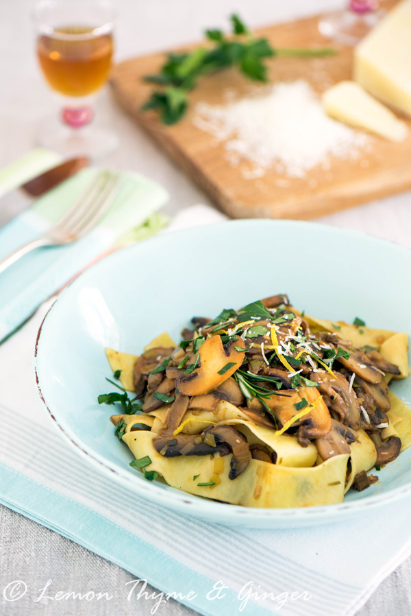 Earth Day Friendly Recipes, Pappardelle with Sherry Mushroom Sauce