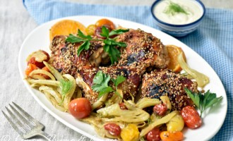 Middle Eastern Style Baked Sesame Chicken with recipe.