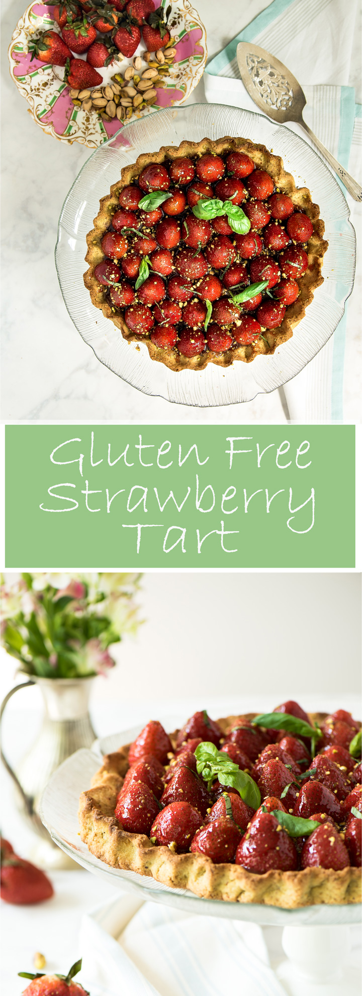 Gluten free Strawberry Tart with Pistachio Crust. Gluten free strawberry tart recipe. A tender gluten free pâte sucurée dough made with ground pistachios and white rice flour. The tart is filled with strawberry rhubarb jam and fresh strawberries. A simple but elegant strawberry tart.