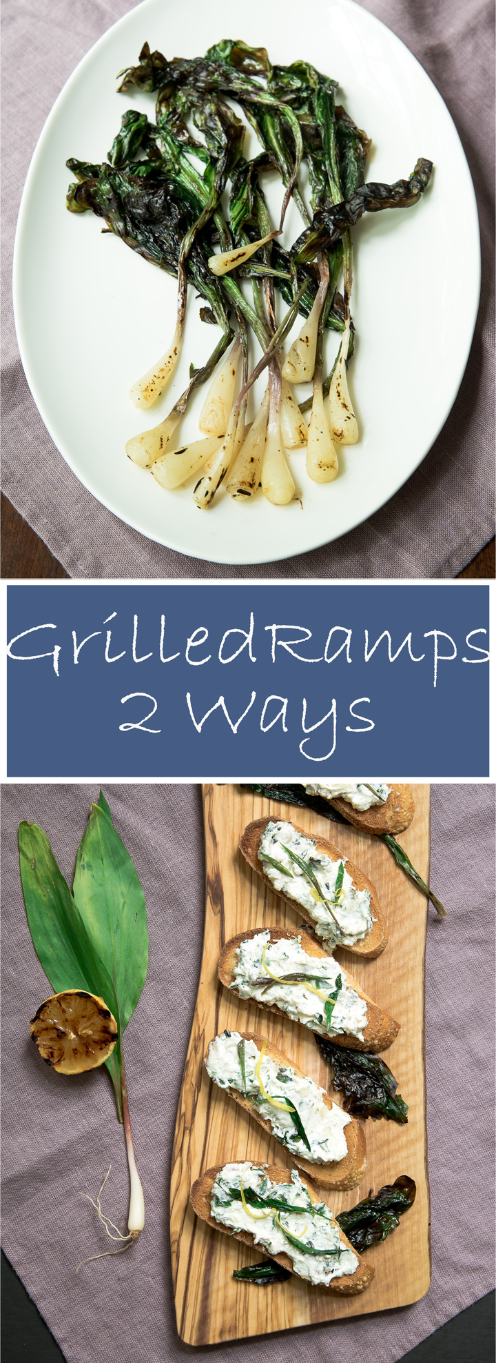 Grilled Ramps: Two Ways. 2 recipes in one. Grilled ramps are delicious by themselves or mixed with other ingredients for an appetizer. You can eat grilled ramps just as they are or mix with fresh ricotta smeared on toasted French bread for a terrific appetizer.