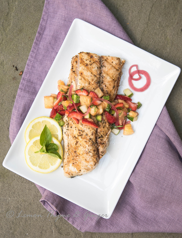 Grilled Mahi Mahi with strawberry pineapple salsa recipe.