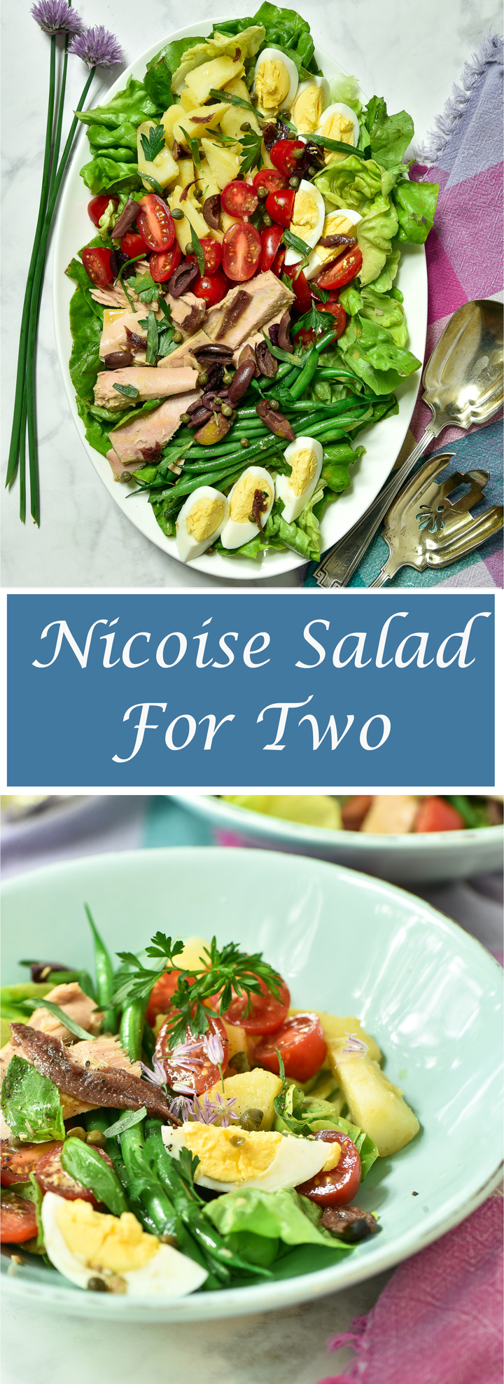 My Classic Nicoise Salad for Two. Nocoise Salad is a classic salad from the French Rivera consisting of French green beans, tomatoes, anchovies and black cured olives. My recipe adds leafy greens, potatoes, capers, tuna fish and cooked eggs, dressed in an anchovy vinaigrette. It is a robust salad exemplifying the seasonal ingredients of the summer.