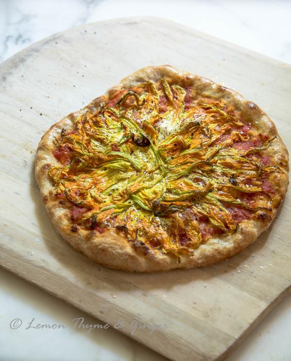 Birthday Squash Blossom Pizza, recipe.