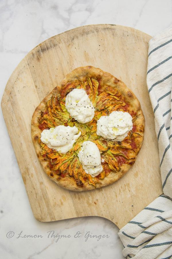 Birthday Squash Blossom Pizza with Burrata, recipe.