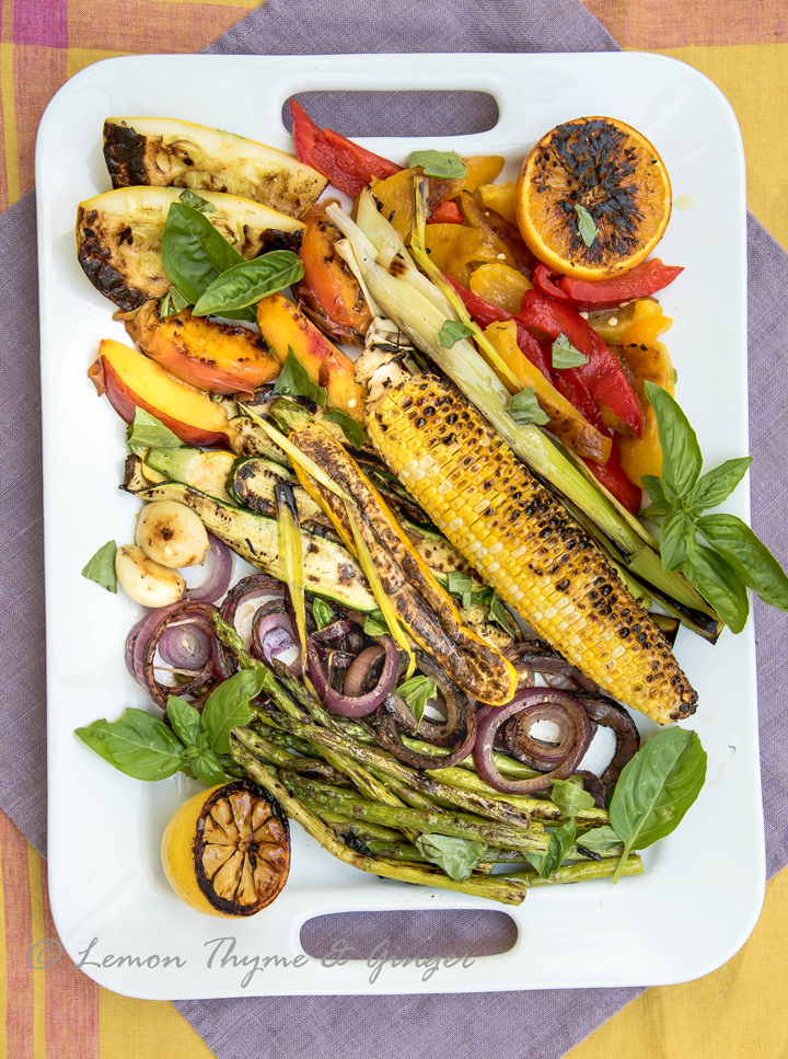 Hodgepodge of Grilled Vegetables Mediterranean Style. Mediterranean technique for grilling vegetables. Grilled vegetables develop a great sear when grilled on a stone or metal surface over an open flame.