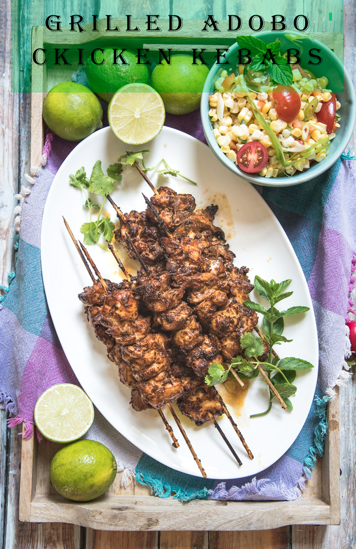 Grilled Adobo Chicken Kebabs Recipe. A recipe for grilled adobo chicken kebabs. Seasoned chicken is marinated in a yogurt adobo sauce. This marinade creates very tender chicken kebabs with a slightly smoky chili flavor.