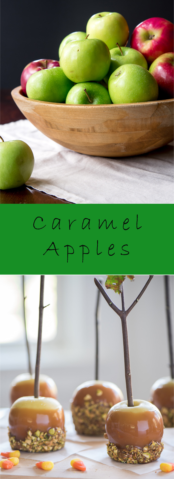 Classic Caramel Apples recipe. Recipe for caramel apples, a classic fall and Halloween treat. In this recipe there are two methods available to make the caramel for the apples. One is homemade and one is semi-homemade using soft caramel candies.