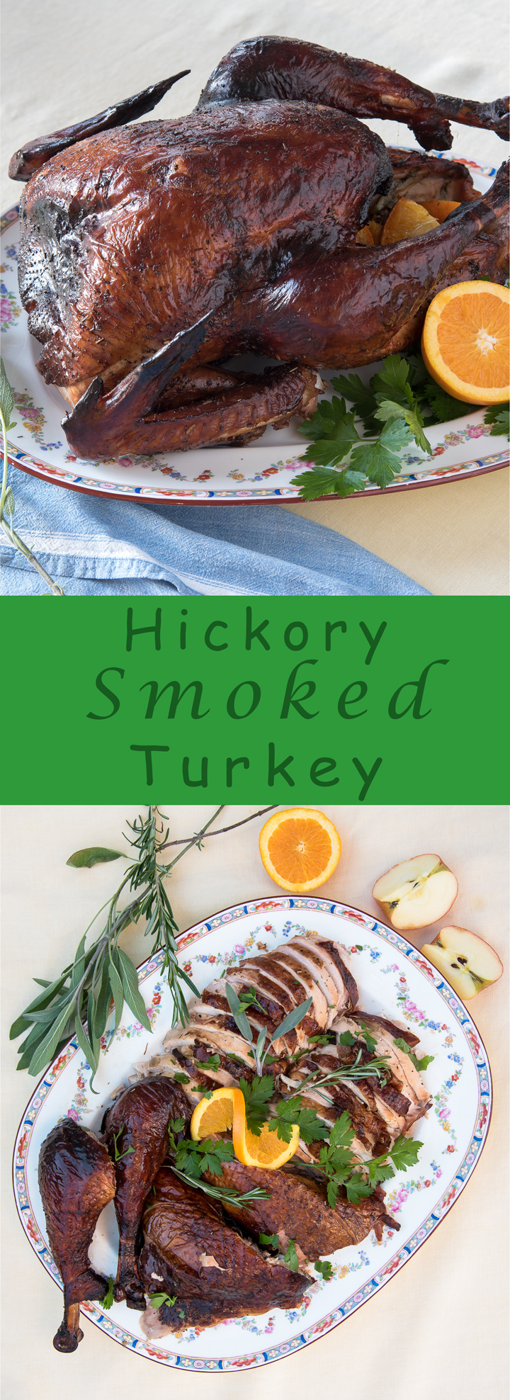 Hickory Smoked Turkey recipe. The ultimate turkey recipe. How to brine, grill and smoke a turkey using a charcoal grill. Apple cider brine recipe included.