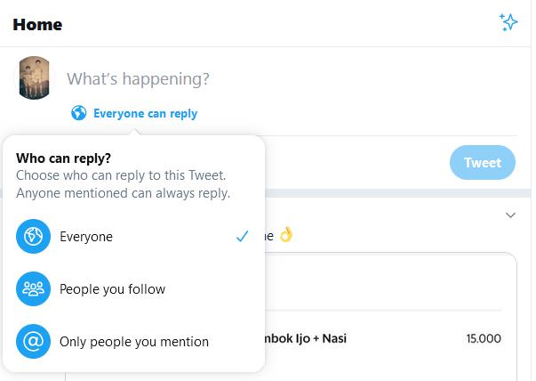 twittter pembatasan komentar reply