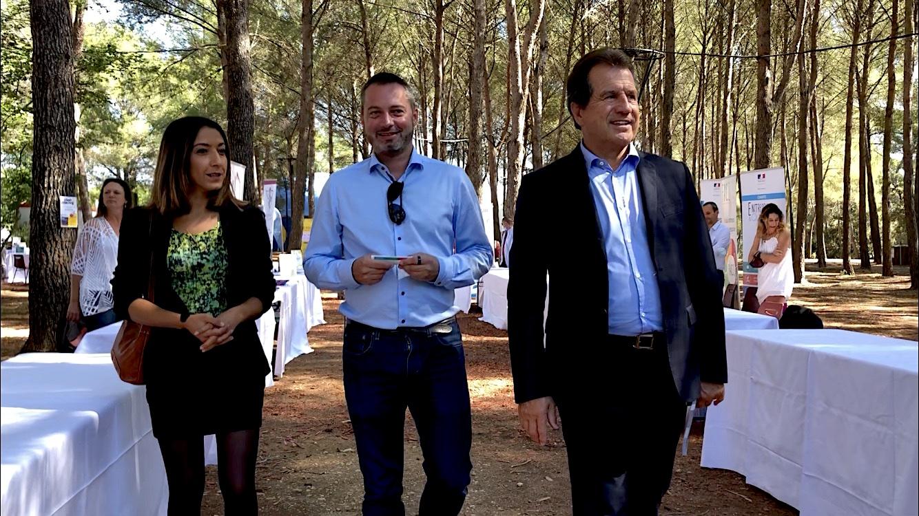 Hind Emad, Vice-présidente de Montpellier Méditerranée Métropole, Déléguée au Développement économique ; Gregory Blanvillain, Président de la Commission Réseaux de la CCI Hérault ; André Deljarry, Président de la CCI Hérault, 1er Vice-Président de la CCI Occitanie (©JPV)