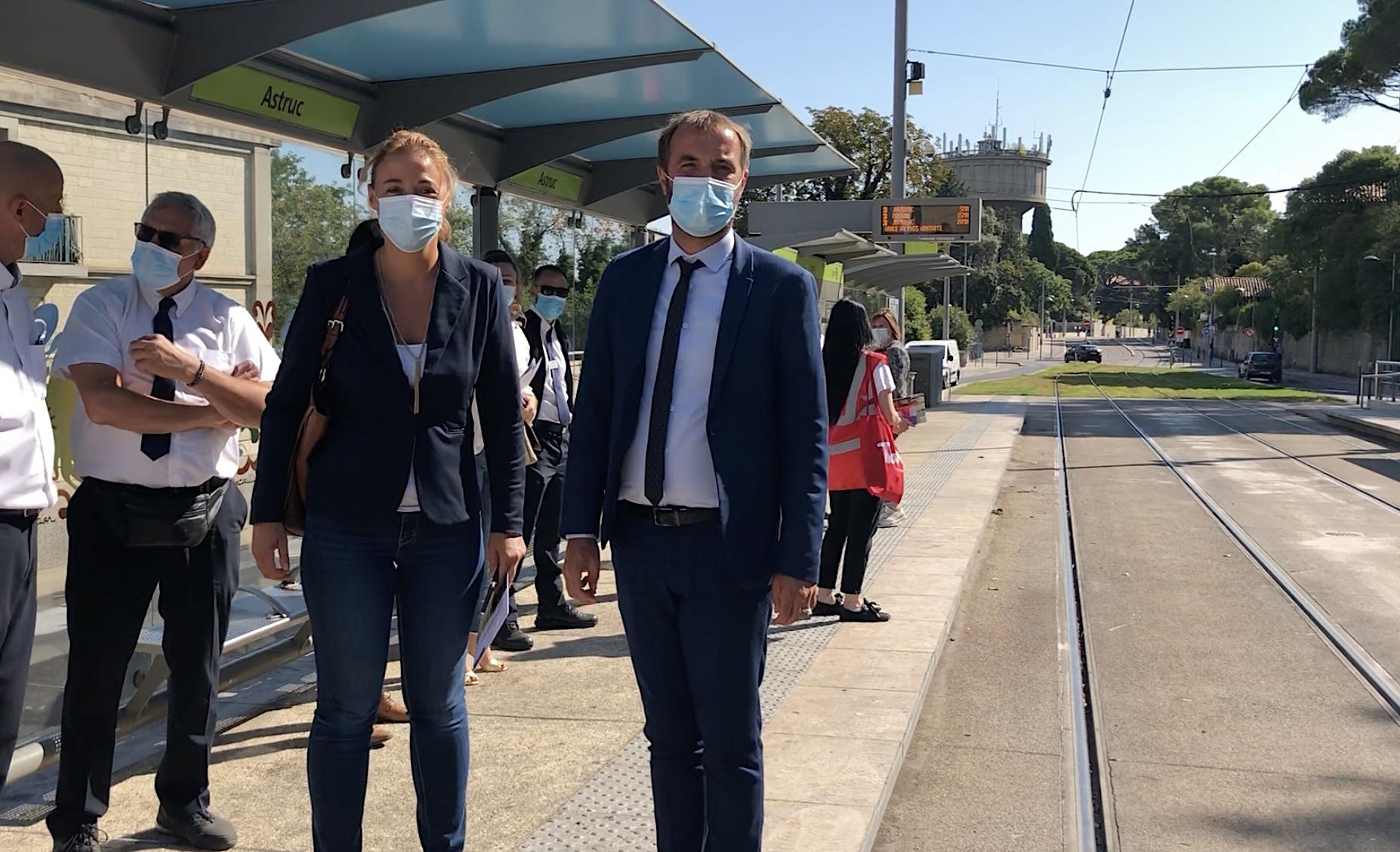 Julie Frêche et Michaël Delafosse, septembre 2021 - Phase 2 de la gratuité des transports ©JPV