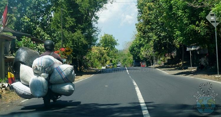 Strani personaggi che si incontrano per strada a Bali, gente che porta qualsiasi cose sui suoi motorini