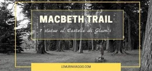 Macbeth trail 7 statue nei giardini del castello di Glamis
