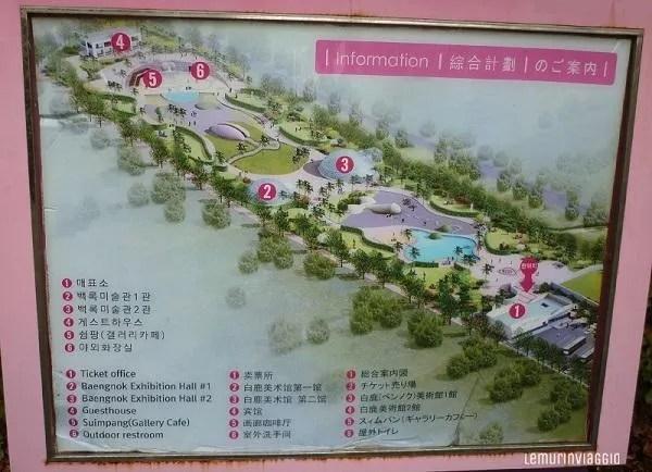 mappa di Loveland a Jeju che si trova proprio all'inizio della mysterious road