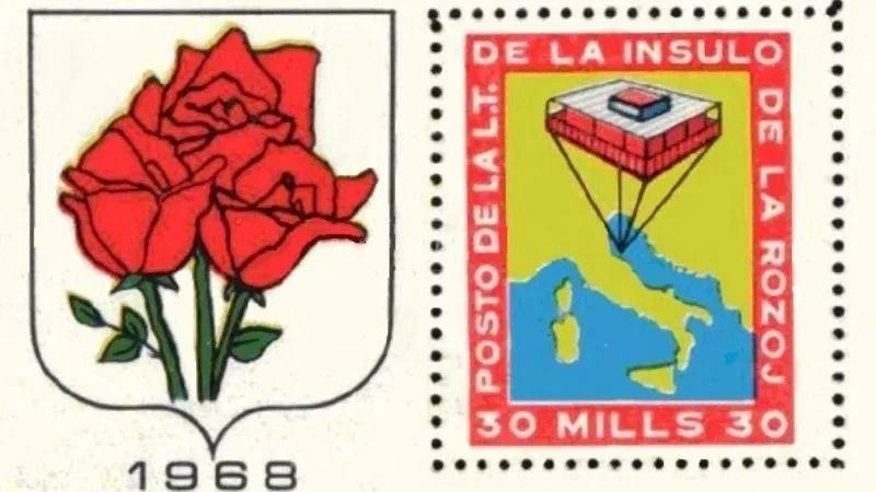 bandiera e francobollo dell'isola delle rose