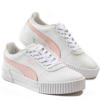 tenis puma casual feminino branco e rosa