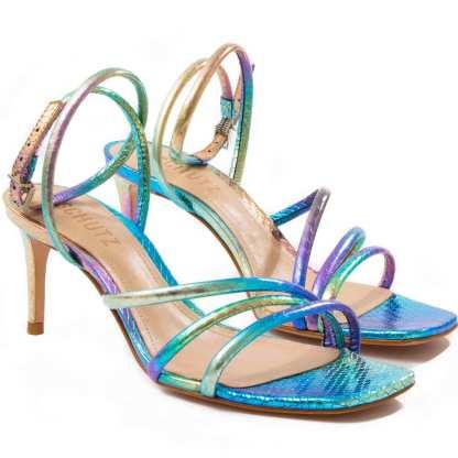 sandalia colorida com tiras schutz