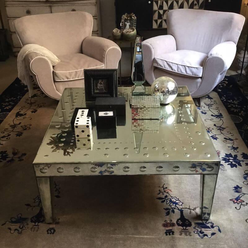 tavolo basso specchi antichi