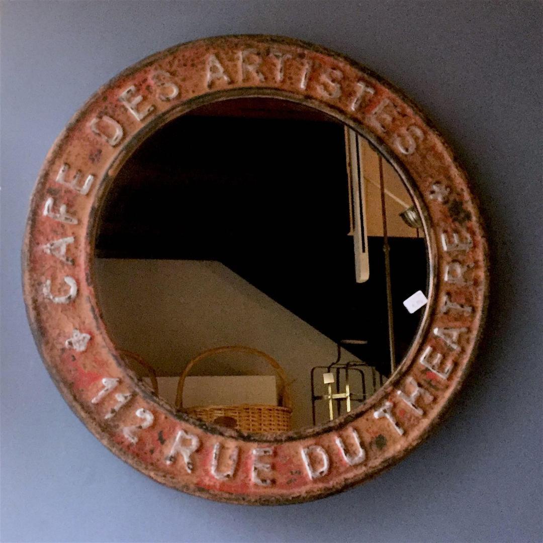 specchio tondo ferro rosso