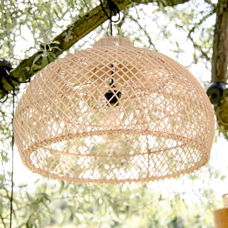 lampadario rattan natural L