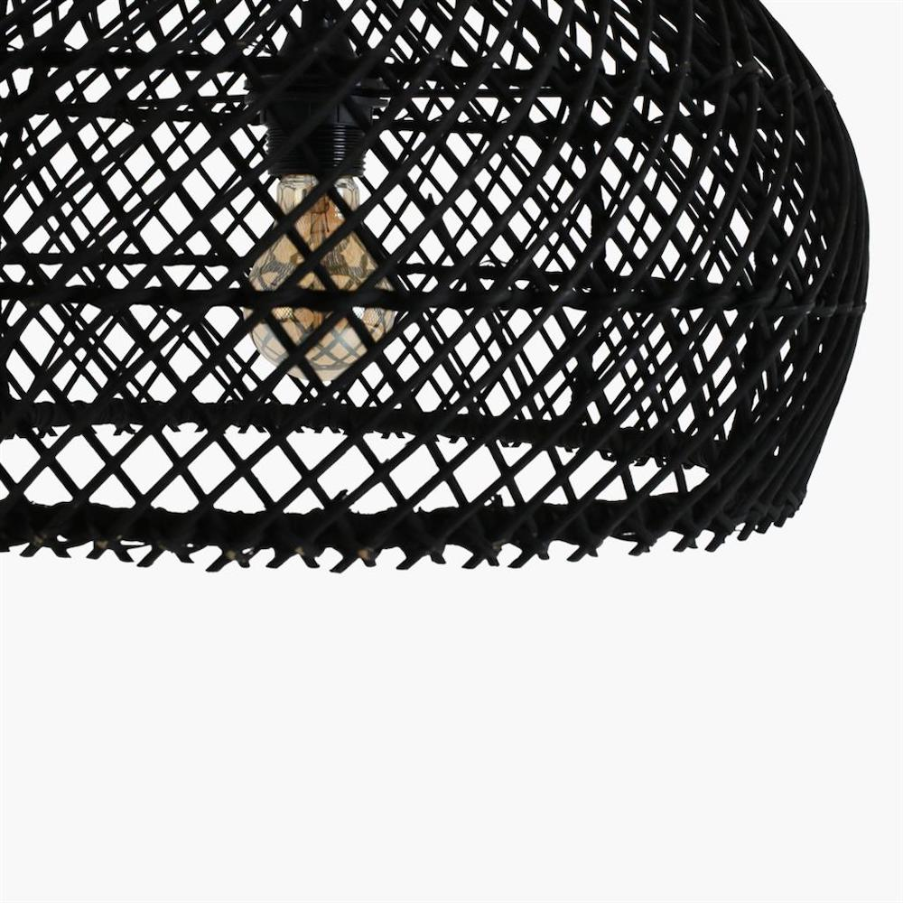 lampadario rattan nero