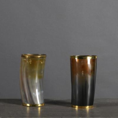 bicchieri corno e metallo oro