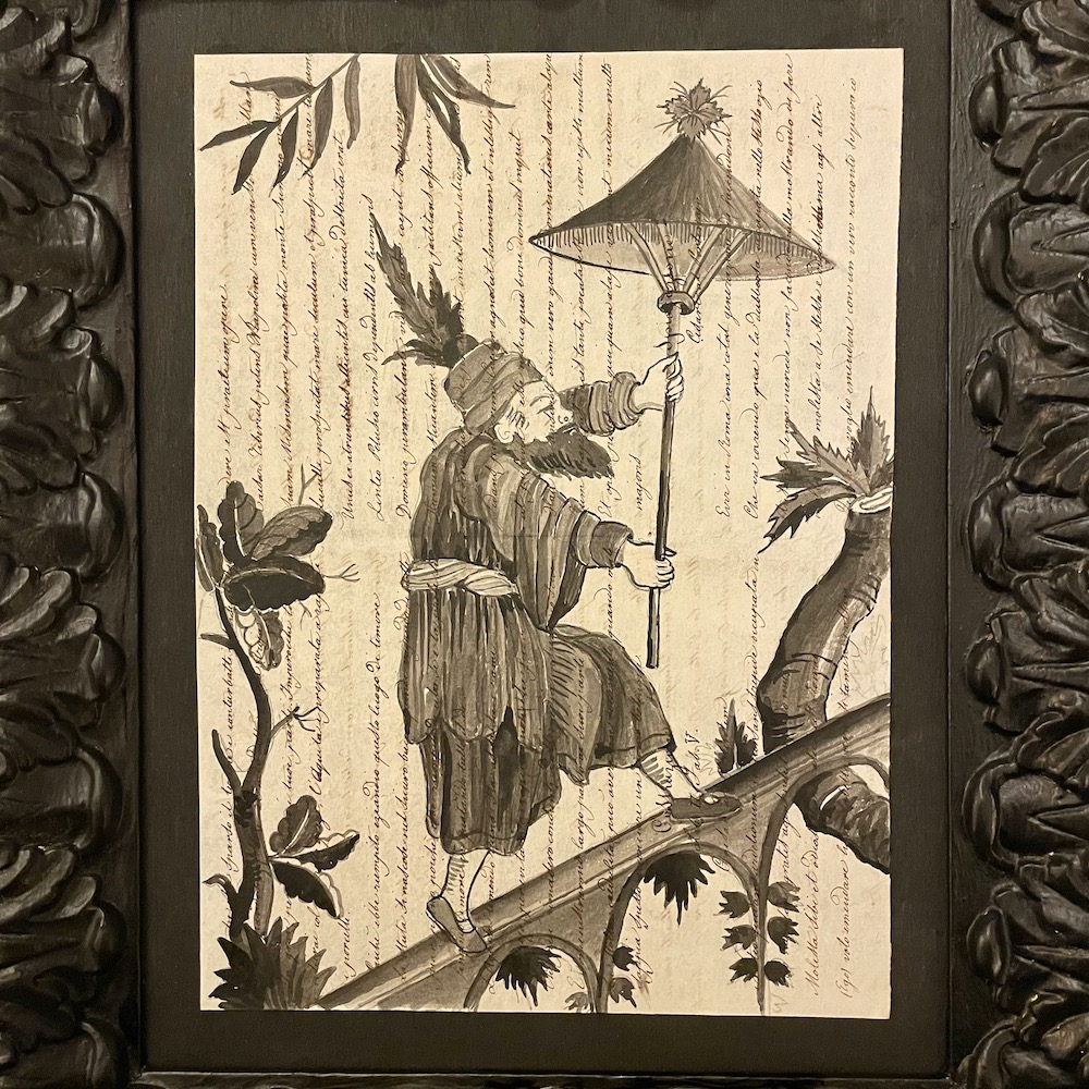 dipinto china in cornice nera