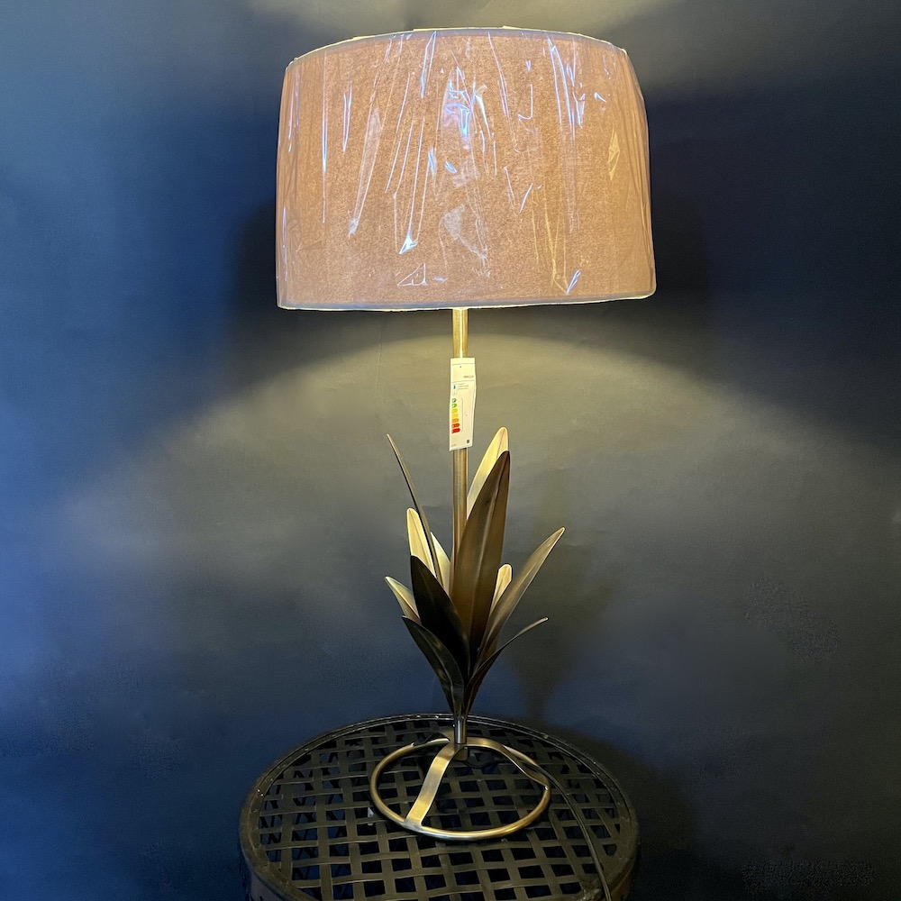 lampada tavolo foglie metallo Abaca