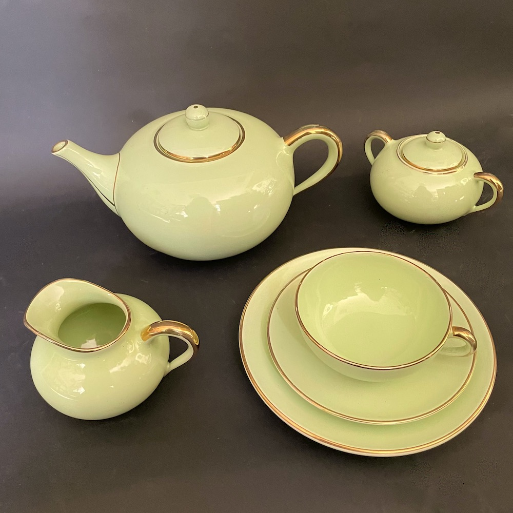 set da te ceramica verde