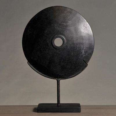 grande disco nero pietra moneta