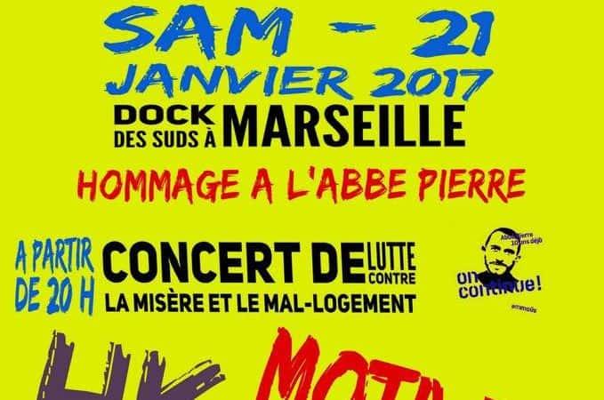 Concert de lutte contre la misère Marseille Docks des Suds