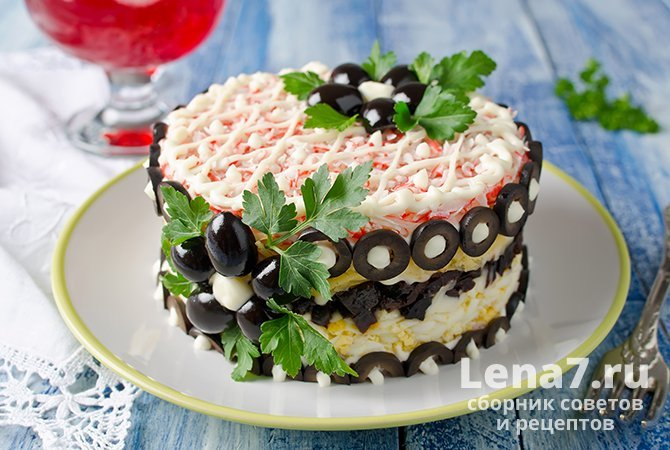 """""""Crab"""" salad with prune and olives"""