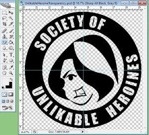 """Photoshop window featuring an angry cartoon woman inside a ring with the text """"Society of Unlikable Heroines"""""""