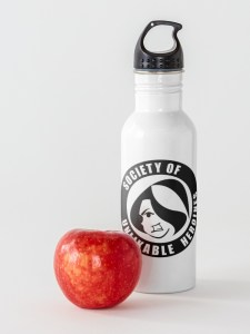 Water bottle with Society of Unlikable Heroines logo