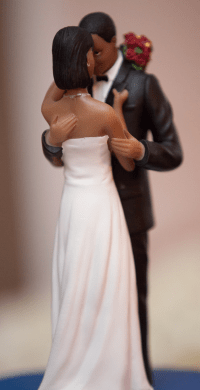 Black Couple Cake Topper at Intimate Chicago Wedding