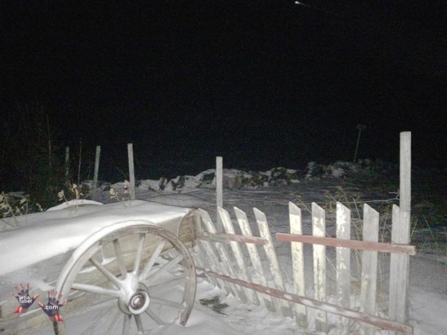 Barents seashore at night