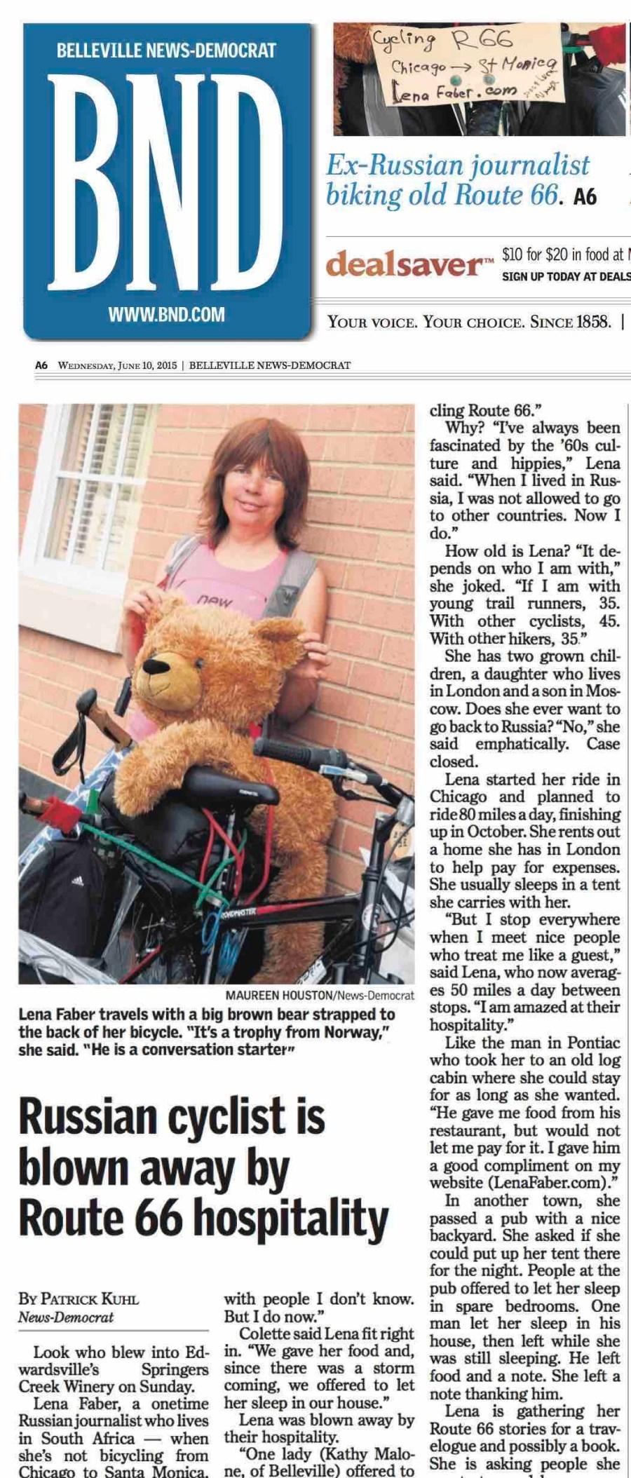 Lena Faber in BND newspaper