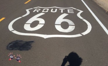Route 66 sign on the road