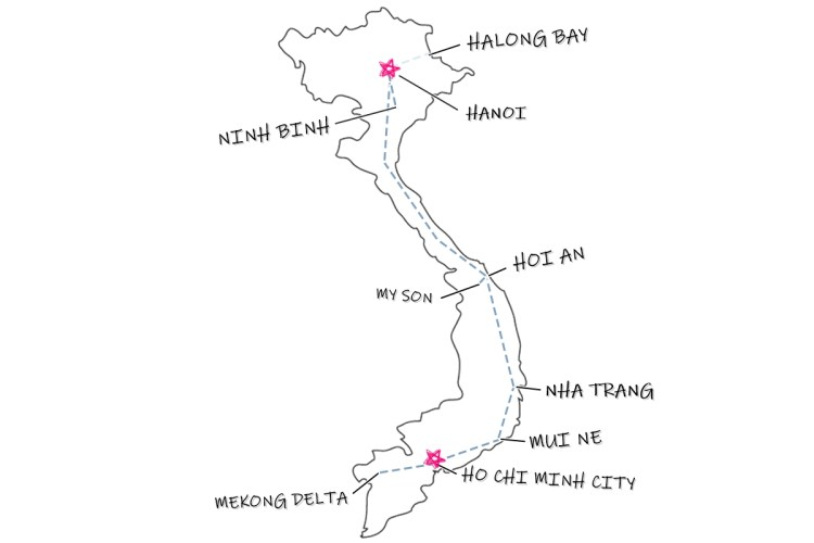 Vietnam Map Itinerary