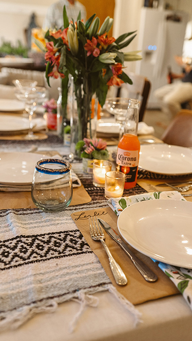 close up of a dinner plate setting at a birthday party
