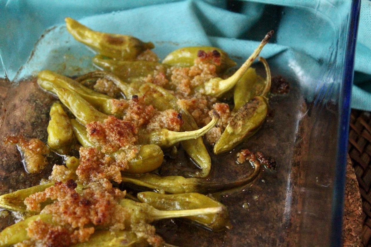 Überbackene Knoblauch Peperoni