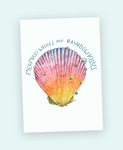 mermaid sihesh art card watercolour shell magic rainbow